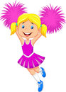 Cartoon Cheerleader with Pom Poms Royalty Free Stock Photo