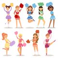 Cartoon cheerleaders girls sport fan dancing cheerleading woman team uniform characters vector illustration