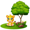 Cartoon cheetah sitting under a tree on a white background