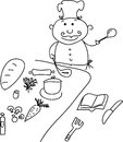 Cartoon chef children s hand drawn doodle Stock Photography