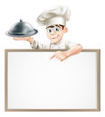 Cartoon chef with cloche and menu a holding a silver platter or pointing at a banner or Stock Photos