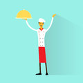 Cartoon chef cook with delicious dish full length flat vector illustration Royalty Free Stock Image
