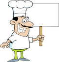 Cartoon chef holding a sign illustration of Royalty Free Stock Photo