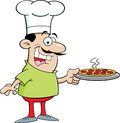 Cartoon chef illustration of a holding a pizza Stock Photography