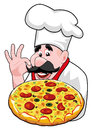 Cartoon chef with italian pizza illustration of happy Royalty Free Stock Photography