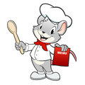 Cartoon chef mouse vector illustration of a holding a wooden spoon Stock Images