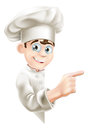 Cartoon chef pointing at sign illustration of a mascot your message or banner Royalty Free Stock Photos