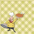 Cartoon chef with tray of  food in hand Royalty Free Stock Photos