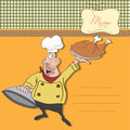Cartoon chef with tray of  food in hand Stock Photography