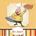 Cartoon chef with tray of  food in hand Royalty Free Stock Photography