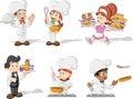 Cartoon chefs cooking, waitress and waiter