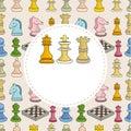 Cartoon chess card Stock Photography