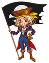 Cartoon chibi captain pirate girl with jolly roger flag anime style Stock Photo