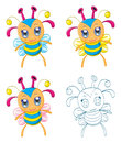 Cartoon chibi fantasy creatures the collection of monsters Stock Photography