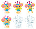 Cartoon chibi fantasy creatures the collection of monsters Stock Images