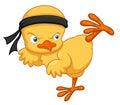 Cartoon Chick Karate Kick
