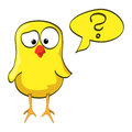 Cartoon chicken doubt yellow little bird with speech bubble and question mark Stock Photography