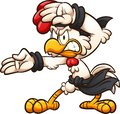 Cartoon chicken striking a karate pose Royalty Free Stock Photo