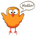 Cartoon chicken wings up orange waving little bird with speech bubble Royalty Free Stock Image