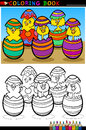 Cartoon chicks in easter eggs coloring page Royalty Free Stock Images
