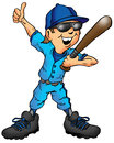 Cartoon of a child baseball player giving a thumbs up Stock Photos