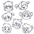 Cartoon child face icons. Vector set of children or teenagers heads outlined. Cutout illustration.