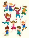 Cartoon child jump icons Stock Images