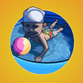 Cartoon child swimming in the pool with a ball