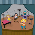 Cartoon children band is playing concert on stage in school fair Royalty Free Stock Photo
