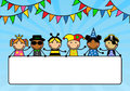 Cartoon children in carnival costumes hold a poste Royalty Free Stock Photo