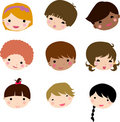 Cartoon children face Royalty Free Stock Photos