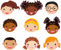 Cartoon children face Stock Images