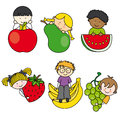 Cartoon children fruits isolated Stock Images