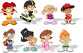 Cartoon children group of happy Royalty Free Stock Photos
