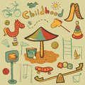Cartoon children playground icon colorful icons vector ilustration Royalty Free Stock Photo