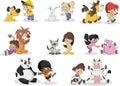 Cartoon children playing with animals pet