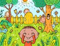 Cartoon children playing hide and seek in the garden Royalty Free Stock Photo