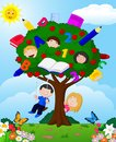 Cartoon children playing Illustration in an apple tree Royalty Free Stock Photo