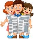 Cartoon children reading a newspaper