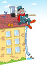Cartoon chimney sweep on roof