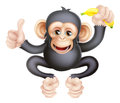 Cartoon chimp monkey with banana like character mascot giving a thumbs up and holding a Stock Image