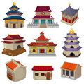 Cartoon Chinese house icon set Stock Photo