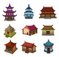 Cartoon Chinese house icon set Royalty Free Stock Photography