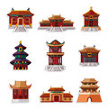 Cartoon Chinese house icon set Royalty Free Stock Photos