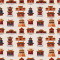 Cartoon Chinese house seamless pattern Stock Photo