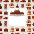 Cartoon Chinese house seamless pattern Royalty Free Stock Images