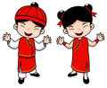 Cartoon Chinese Kids Royalty Free Stock Photos