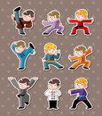 Cartoon chinese Kung fu stickers Royalty Free Stock Photos