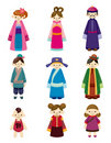 Cartoon Chinese people icon set Stock Photo