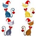 Cartoon Christmas Cats Clip Art 2 Royalty Free Stock Photo